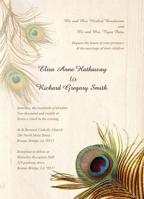 Peacock Wedding Invitation Templates