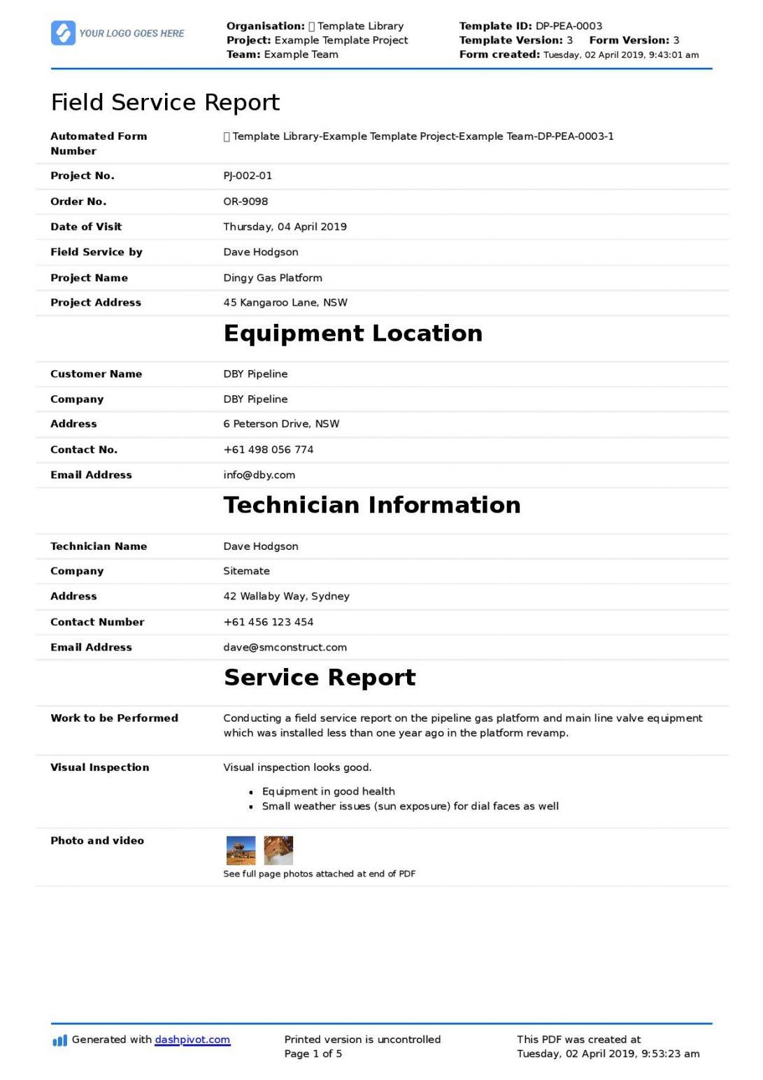 Pest Control Service Report Template Pdf