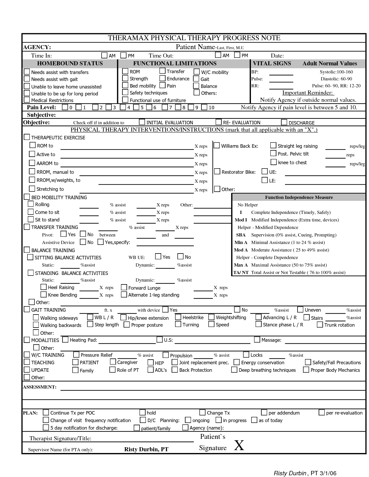 Physical Therapy Treatment Plan Template