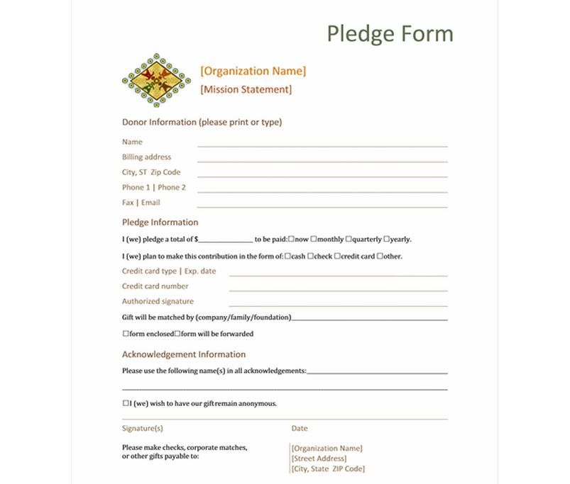 Pledge Form Template Free