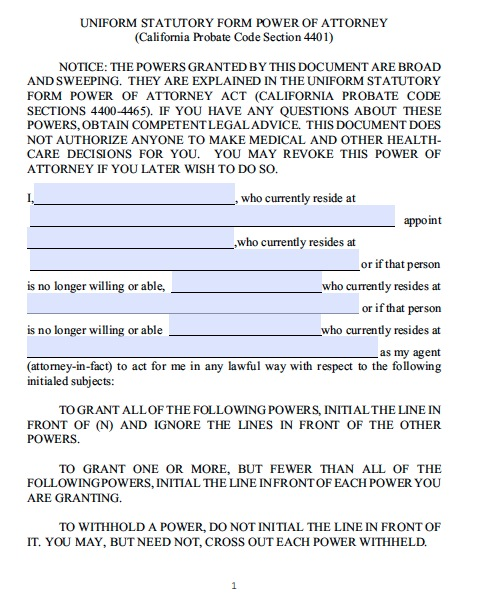 Power Of Attorney Template California