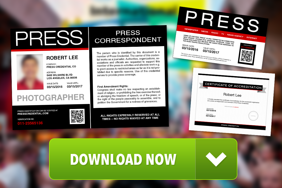 Press Credentials Template Free