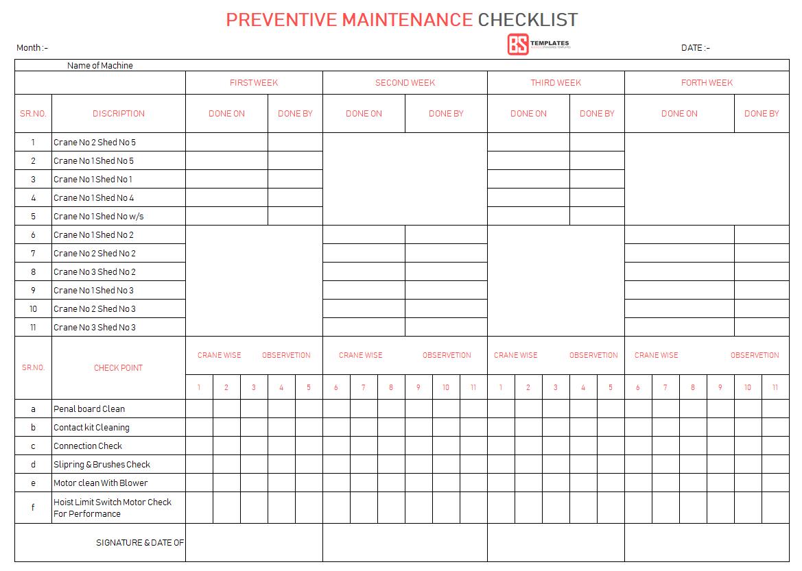 Preventive Maintenance Checklist Template Excel