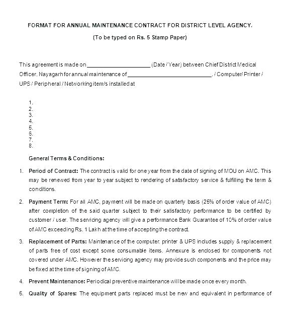 Preventive Maintenance Equipment Maintenance Contract Template