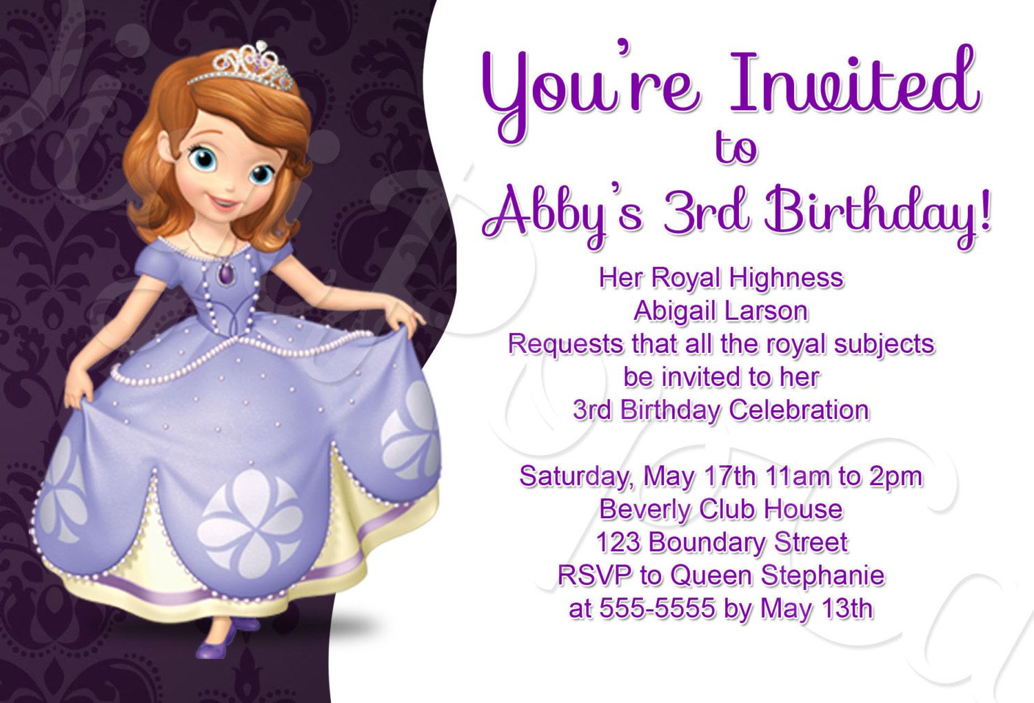 Princess Sofia Birthday Invitation Template