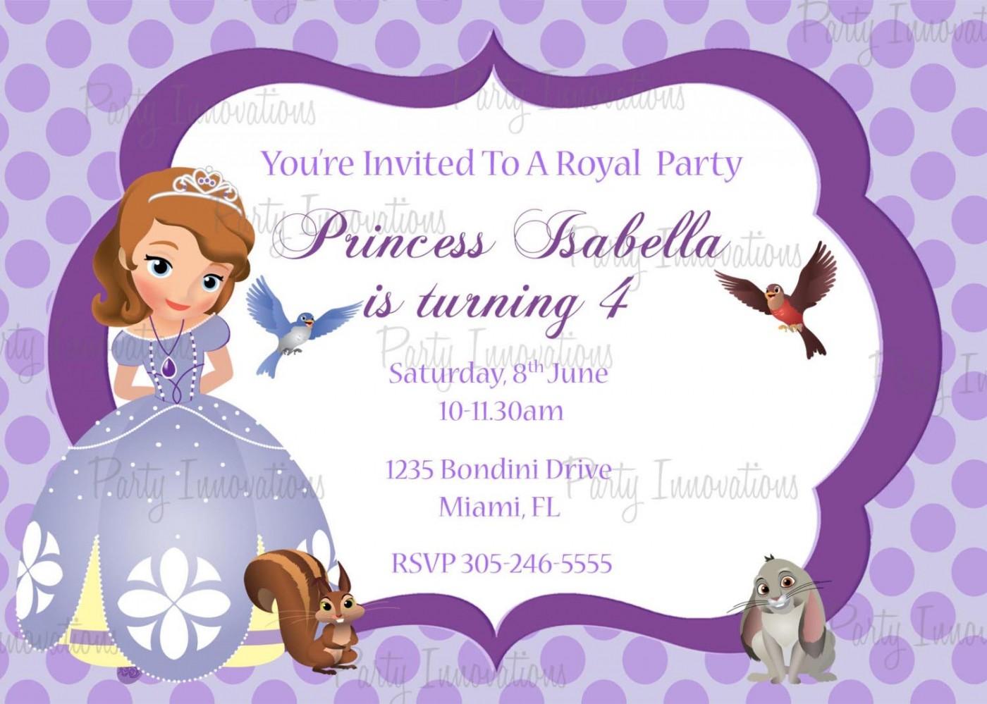 Princess Sofia Invitation Card Template