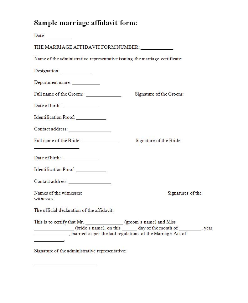 Printable Affidavit Template Pdf