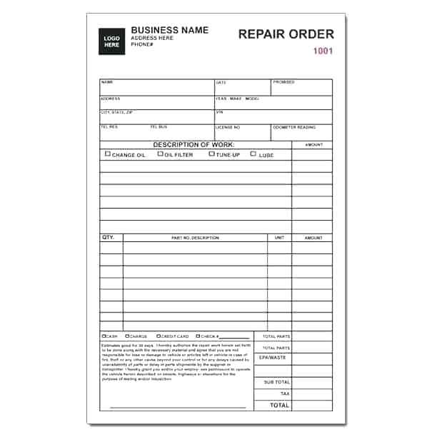 Printable Auto Repair Work Order Template Excel
