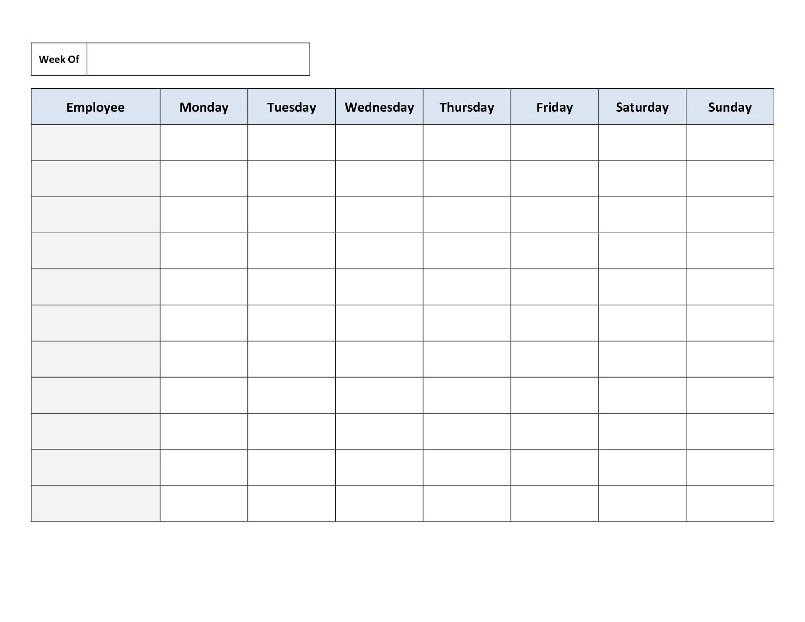 Printable Blank Employee Schedule Template