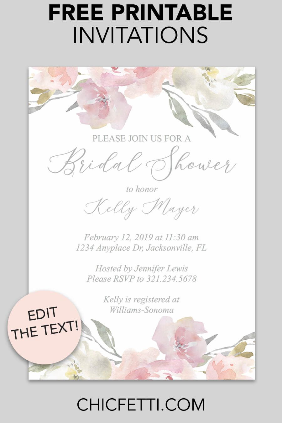 Printable Bridal Shower Invitations Templates Free