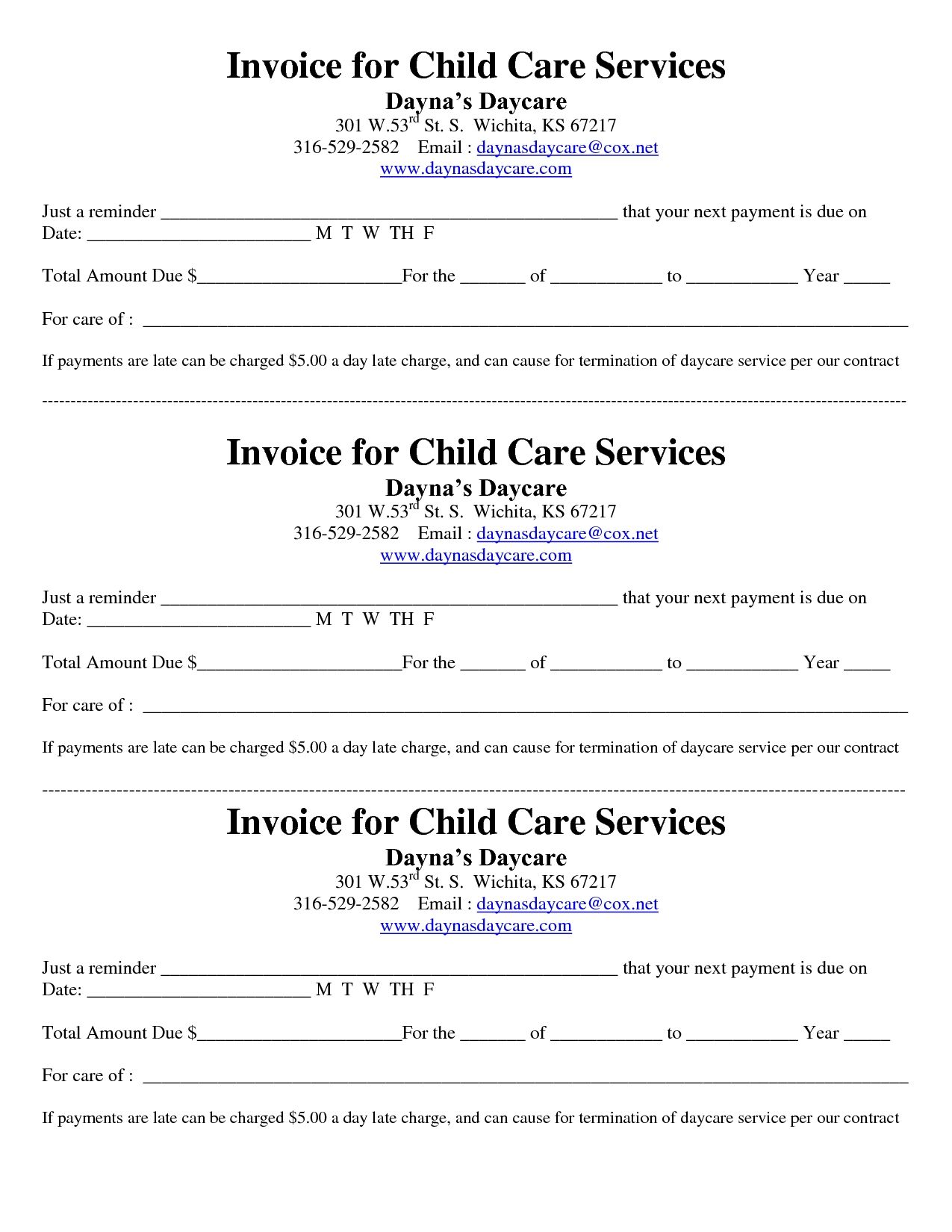 Printable Child Care Invoice Template