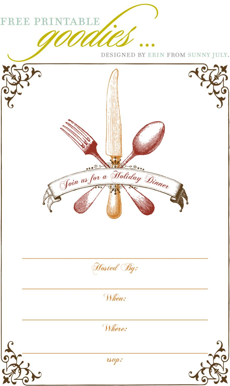 Printable Christmas Dinner Invitation Template Free