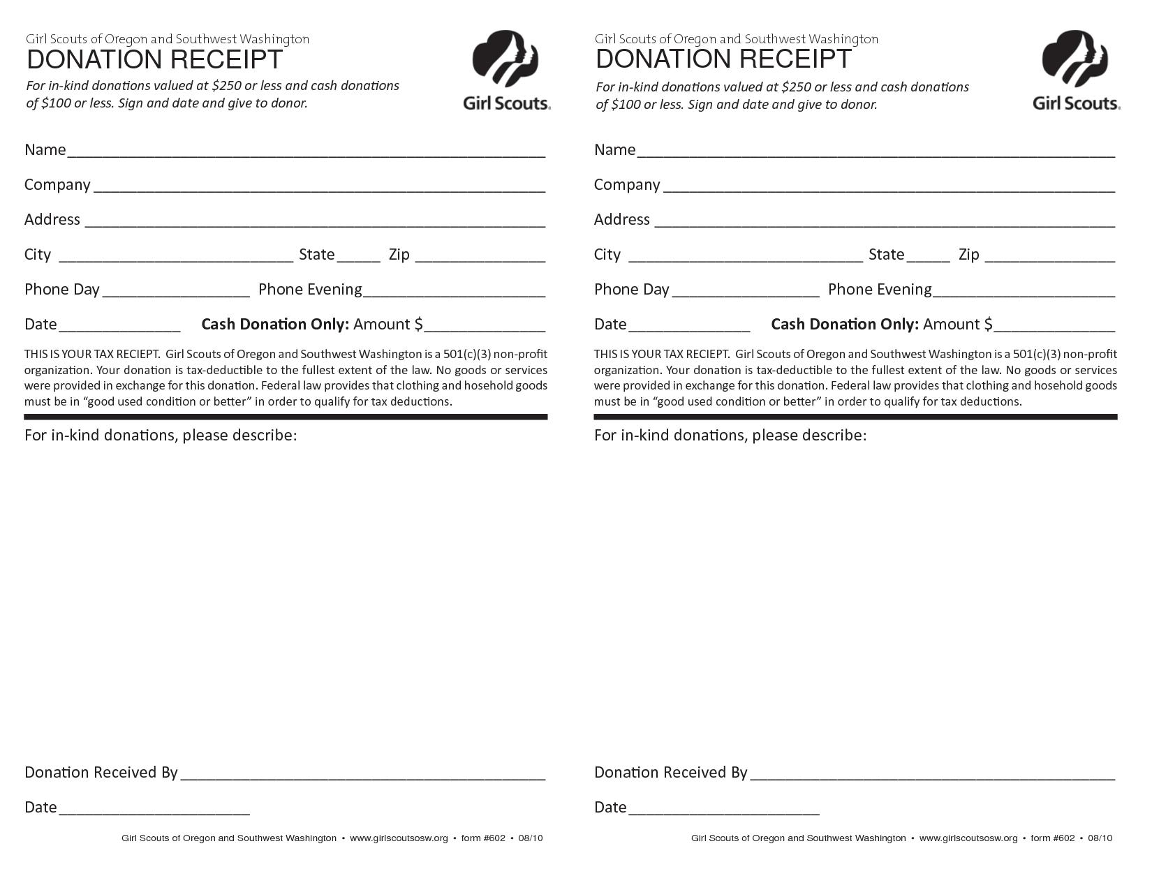 Printable Church Donation Receipt Template