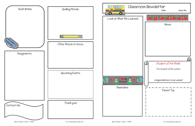Printable Classroom Newsletter Templates