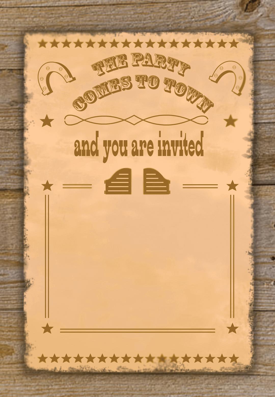 Printable Cowboy Invitation Template