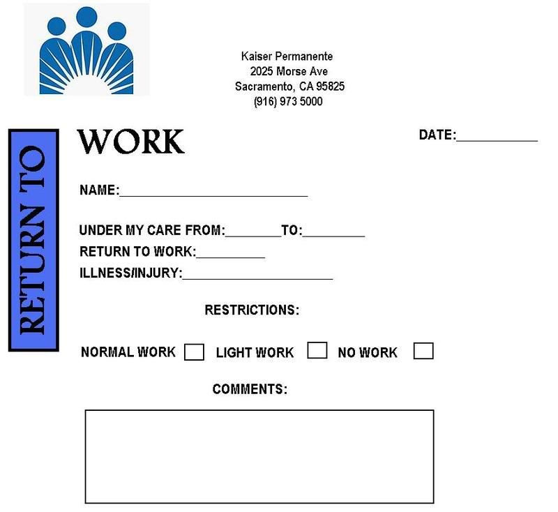 Printable Doctor Note Template For Work