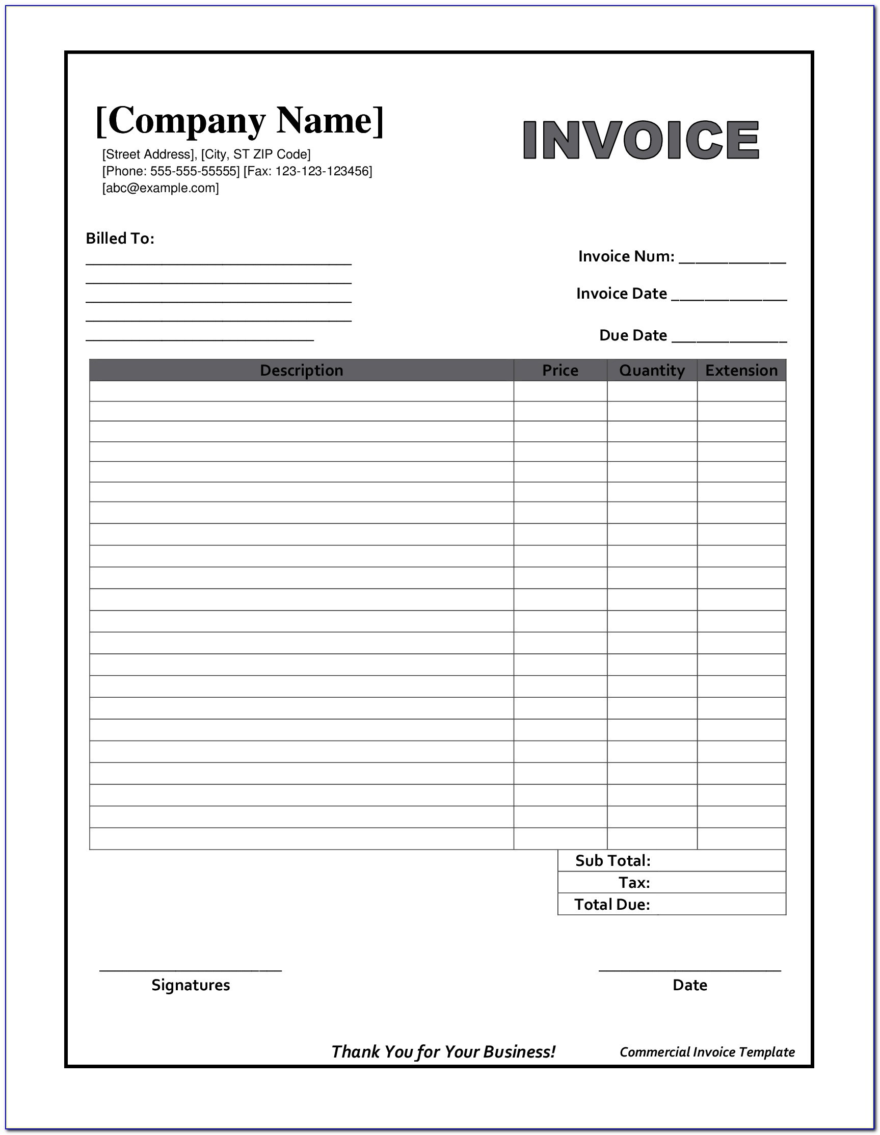 Printable Downloadable Blank Invoice Template Free