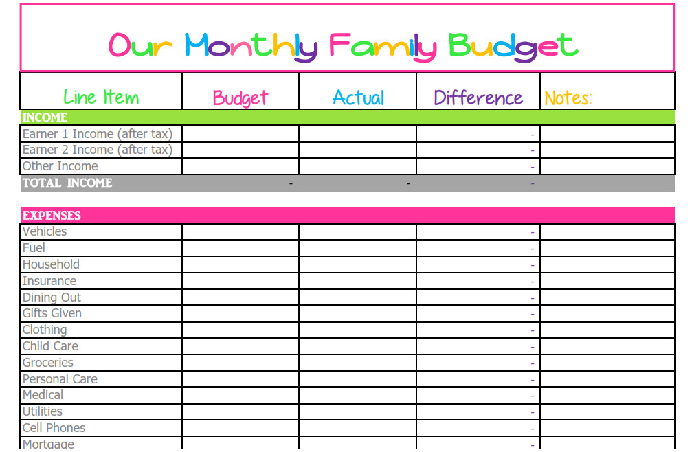 Printable Editable Monthly Expenses Template