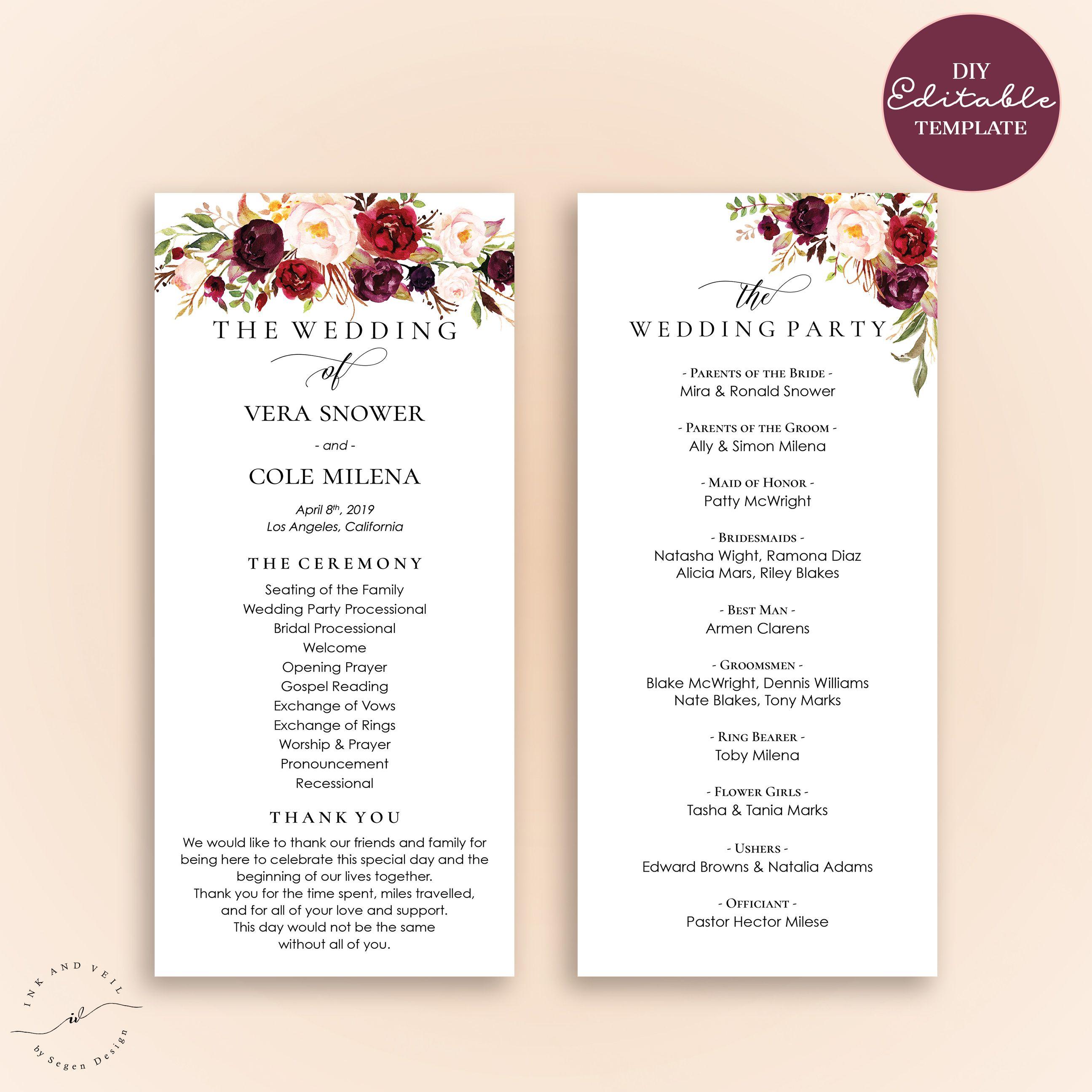 Printable Editable Wedding Program Template