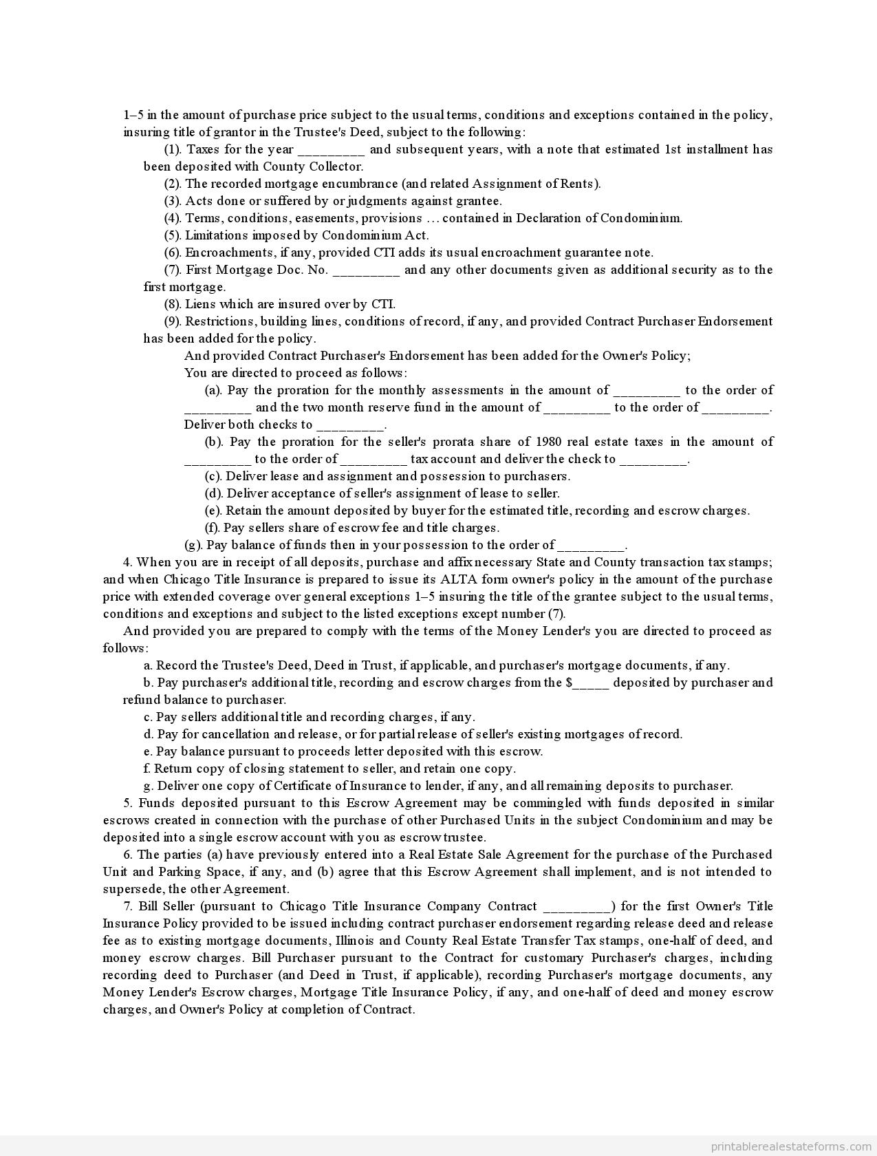 Printable Estate Sale Contract Template
