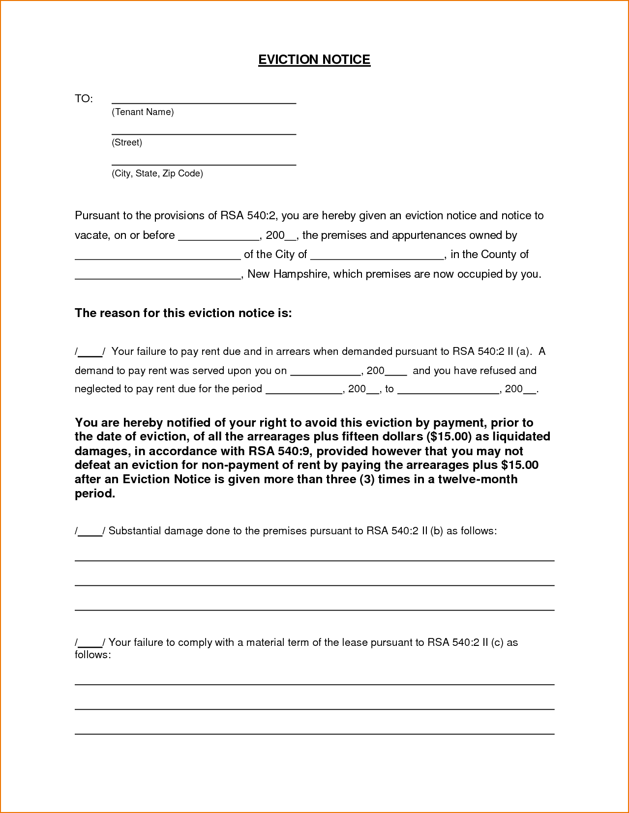 Printable Eviction Notice Template Alberta