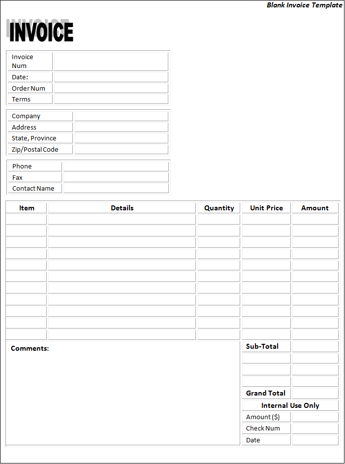 Printable Free Blank Invoice Template Word
