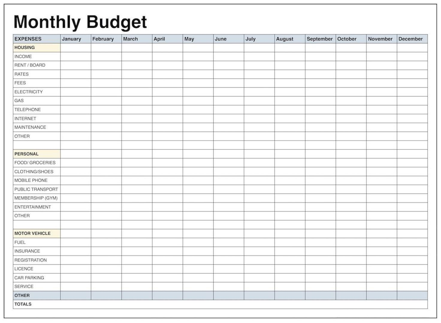 Printable Free Budget Spreadsheet Template