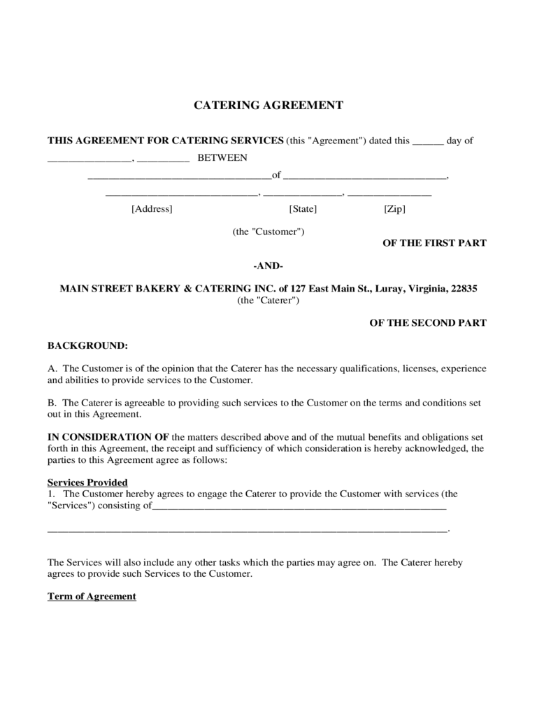 Printable Free Catering Contract Template