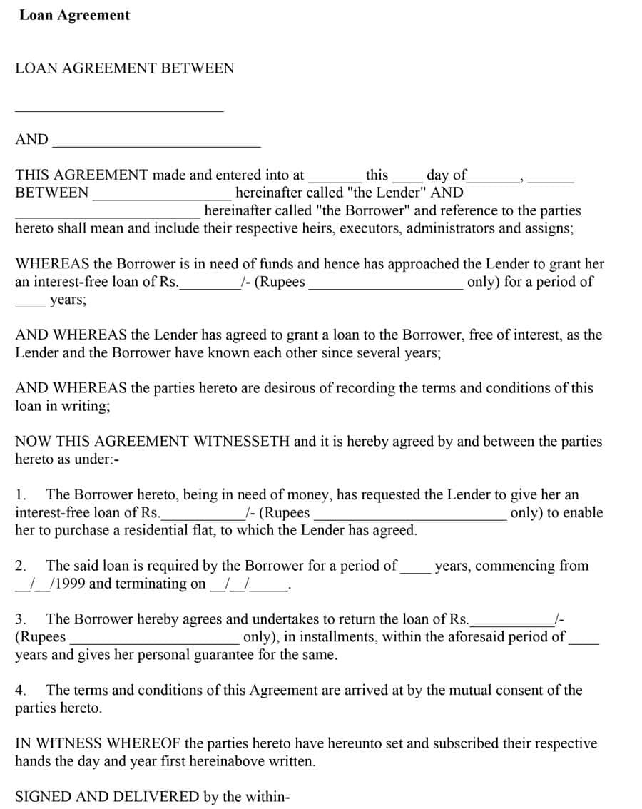 40+ Free Loan Agreement Templates [word & Pdf] ᐅ Template Lab Free Printable Loan Agreement Form