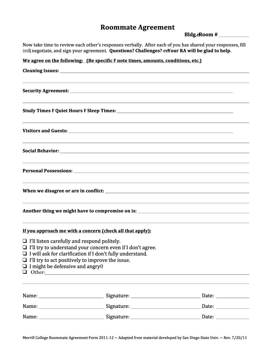 Printable Free Roommate Agreement Template