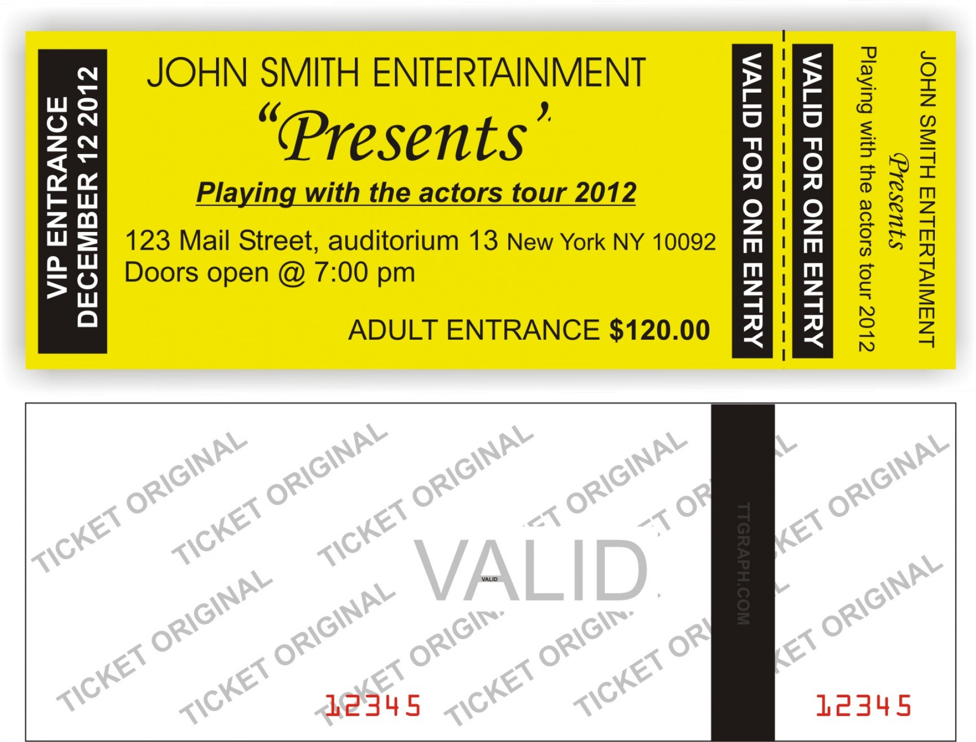 Printable Generic Ticket Template