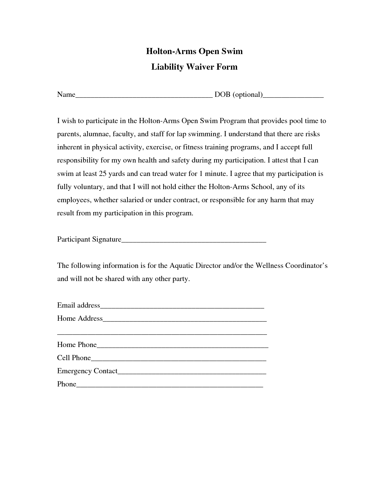 Printable Insurance Waiver Form Template
