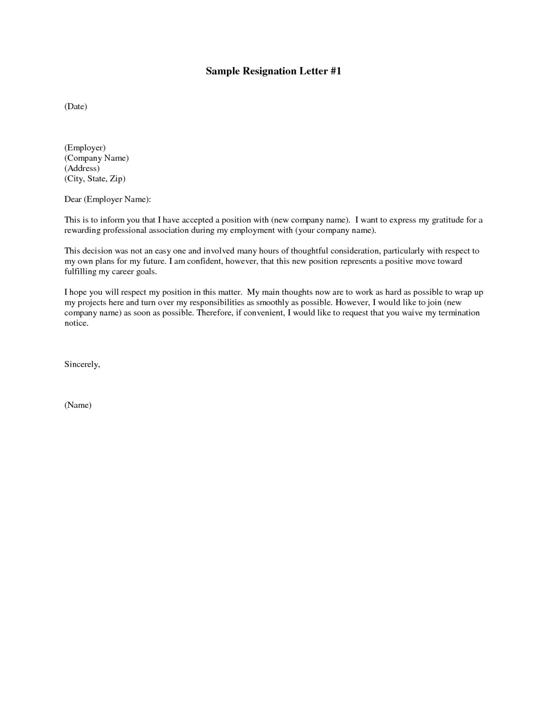 Printable Letter Of Resignation Template Free