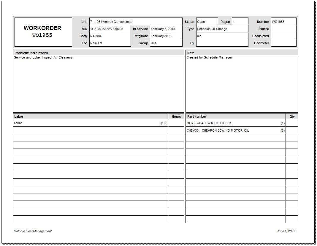 Printable Mechanic Work Order Template Word