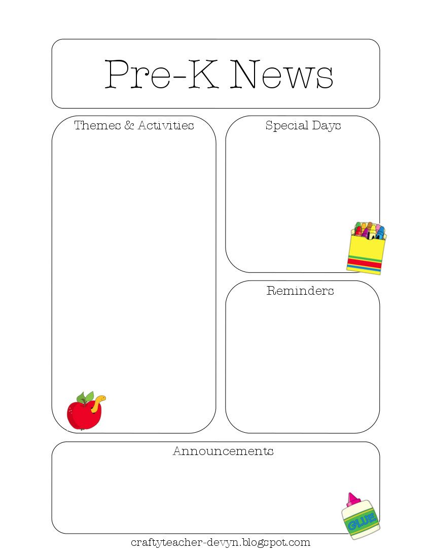 Printable Newsletter Templates For Preschool