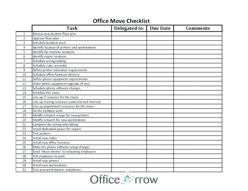 Printable Office Move Checklist Template