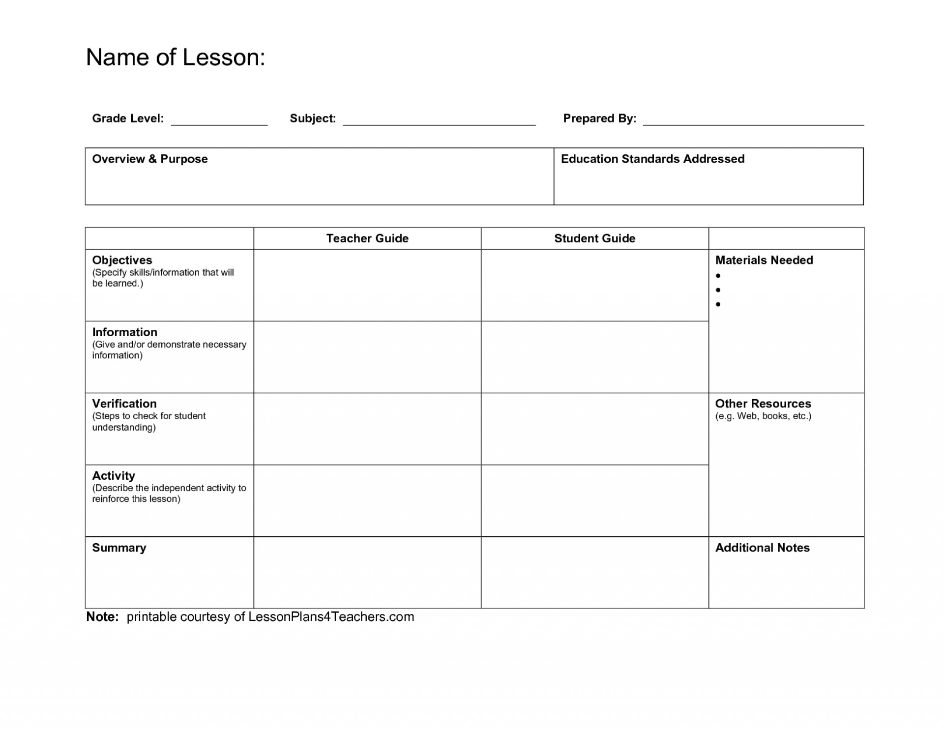 Printable Pe Lesson Plan Template Blank