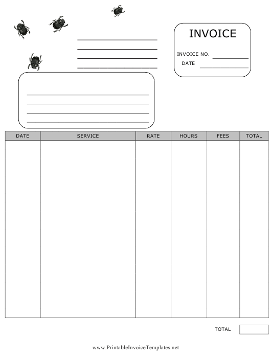 Printable Pest Control Invoice Template