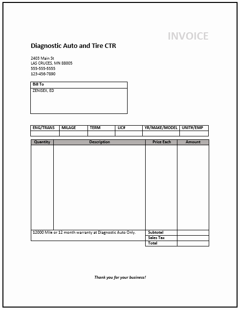 Printable Service Invoice Template Word Download Free