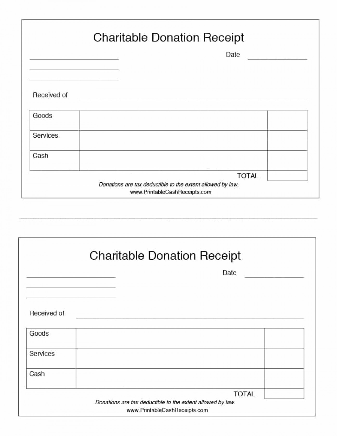 Printable Tax Donation Receipt Template
