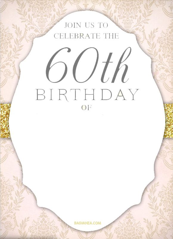 Printable Templates Free 60th Birthday Invitation