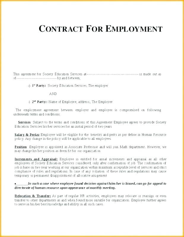 Printable Temporary Employment Contract Template