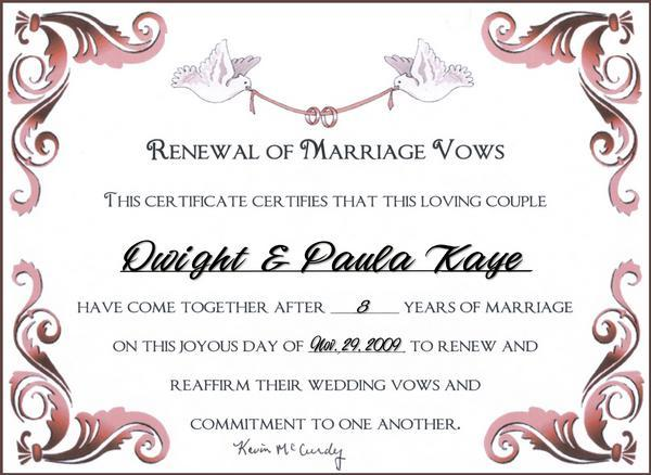 Printable Vow Renewal Certificate Templates Free