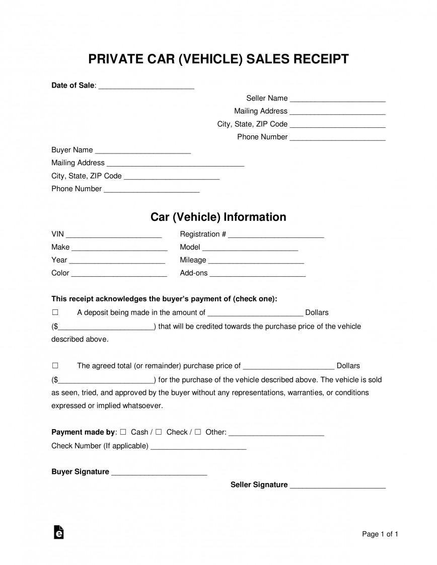 Private Car Sales Receipt Template Uk