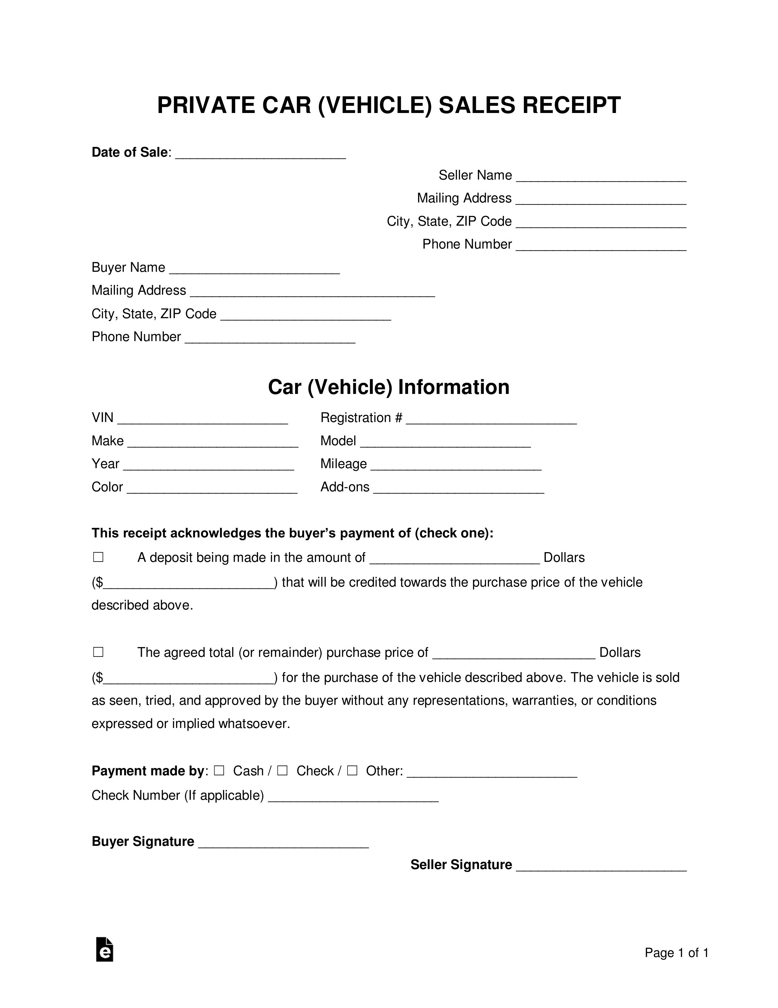 Private Car Sales Receipt Template