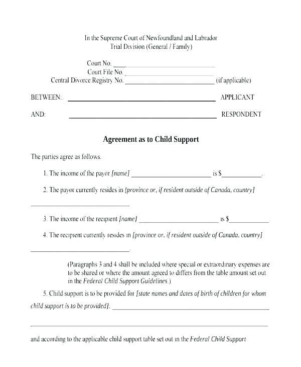 Private Child Support Agreement Template Australia