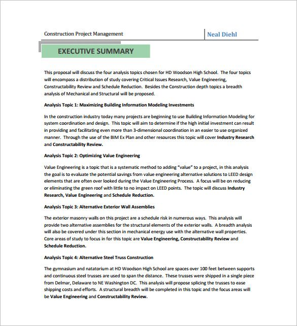 Project Bid Proposal Template