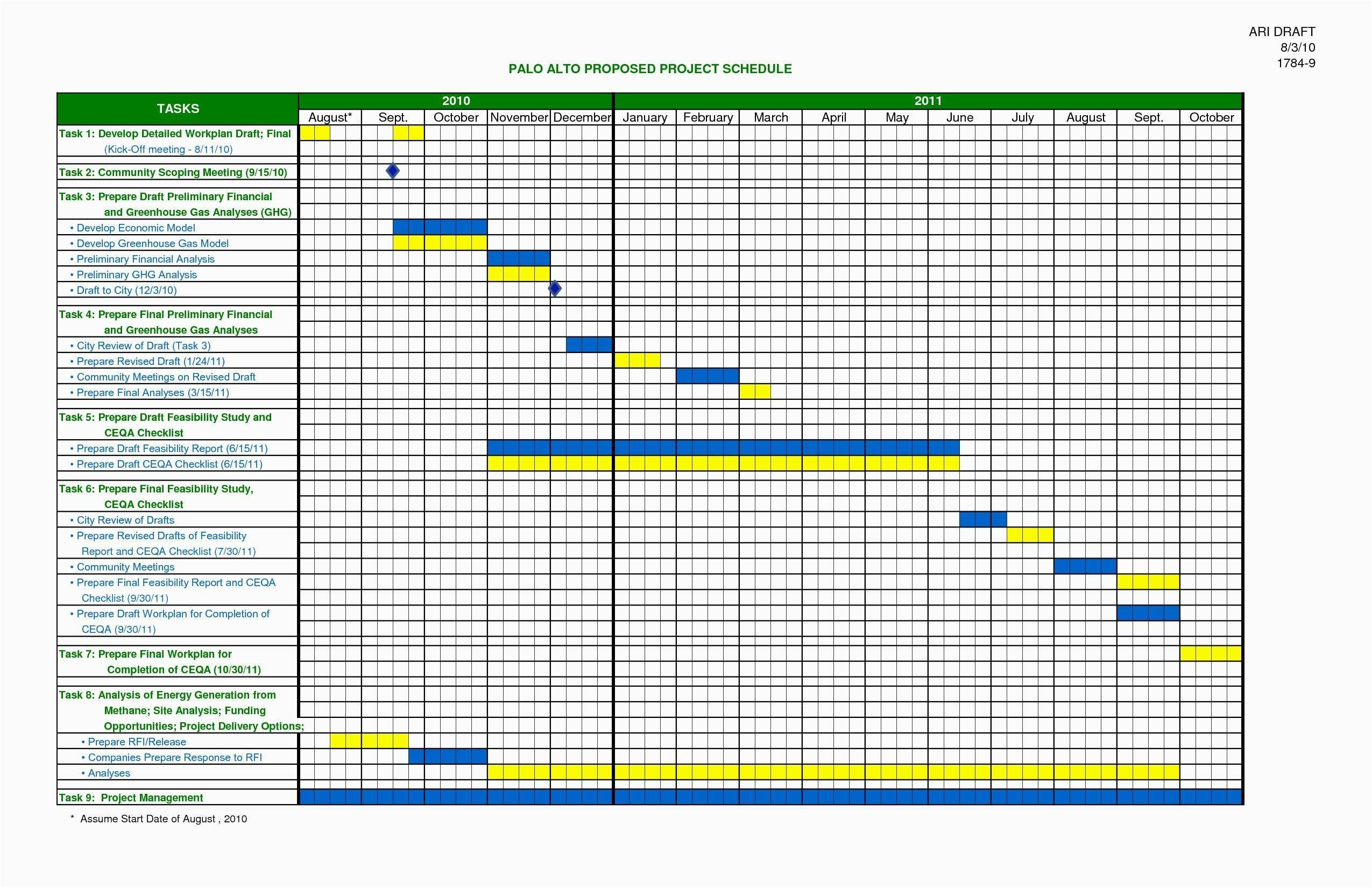 Project Plan Calendar Template Excel