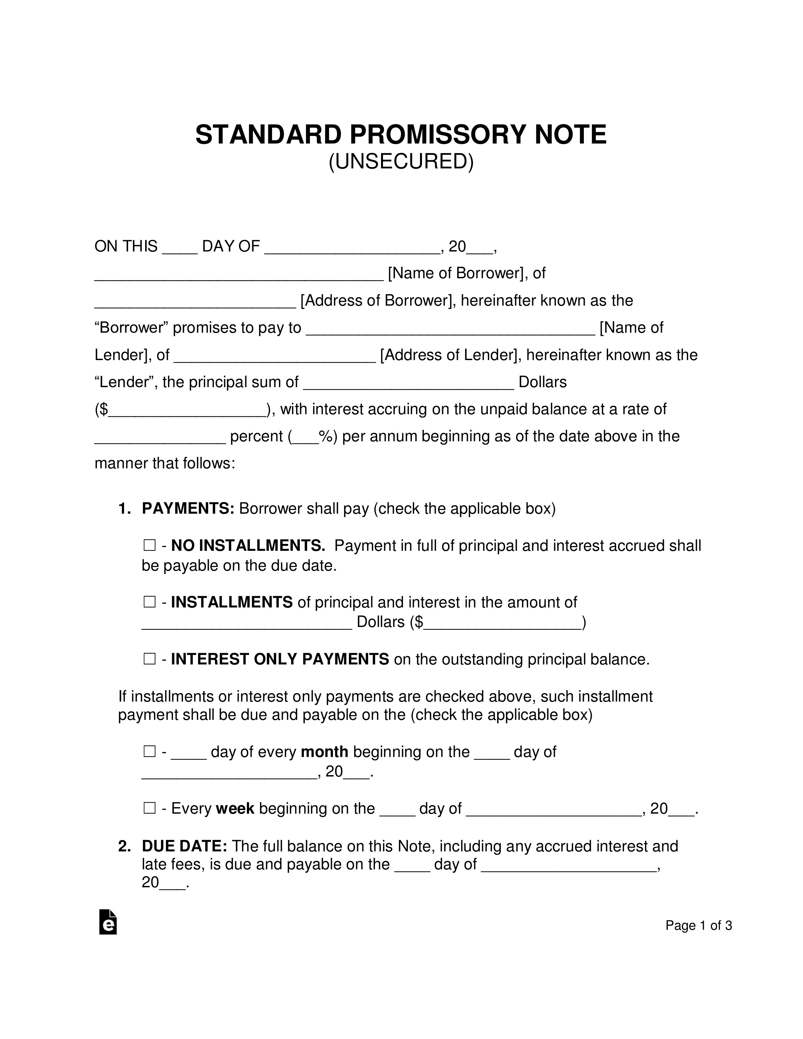Promissory Note Document Template