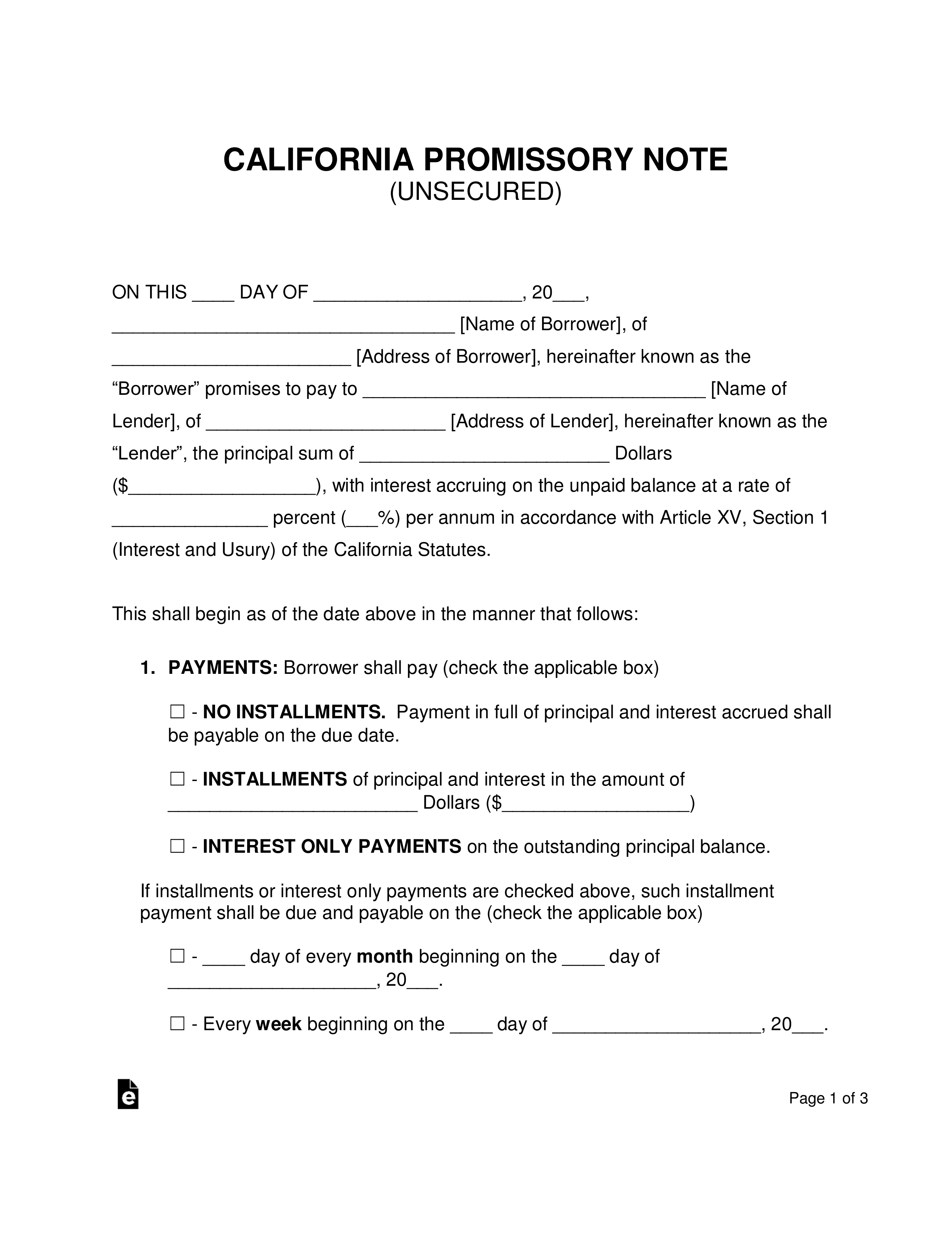 Promissory Note Template California Free